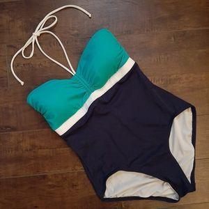 Tommy Hilfiger Color Block Halter Swimsuit Size 8